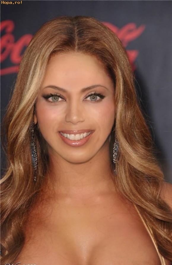 Celebritati - Fata din imagine seamana la corp si par cu Beyonce, la frunte cu Jennifer Lopez, la sprincene cu Angelina Jolie, la obraji cu Salma Hayek, la buze cu Eva Longoria si la barbie cu Jessica Alba....voi ce ziceti?