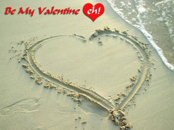 Valentines Day - Hear on the beach sand