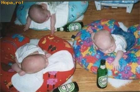 Copii - Dupa o betie cu bere...