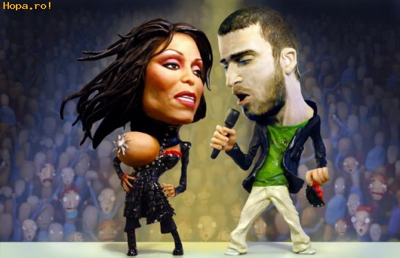 Caricaturi de personaje - Janet Jackson si Justin Timbarlake