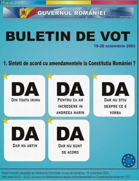 Din Romania - Buletin de vot in Romania