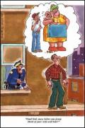 Caricaturi - Inainte sa te arunci gandeste-te la sotia si copii tai